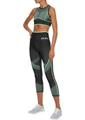 Dkny Woman Stretch-jacquard Sports Bra Mint
