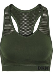Dkny Woman Stretch-jersey And Mesh Sports Bra Army Green