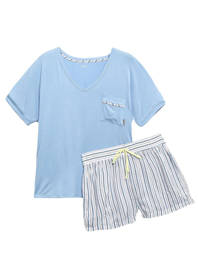 Dkny Woman Stretch-jersey And Striped Mousseline Pajama Set Light Blue
