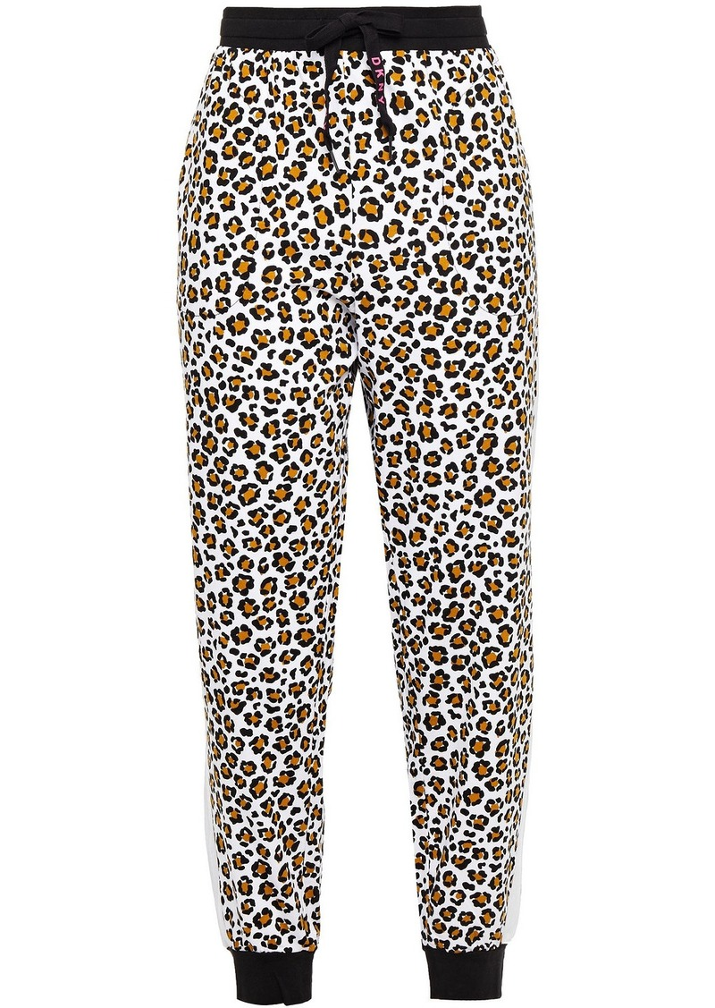 Dkny Woman Leaving Our Mark Logo-print Cotton-blend Jersey Pajama Pants Animal Print