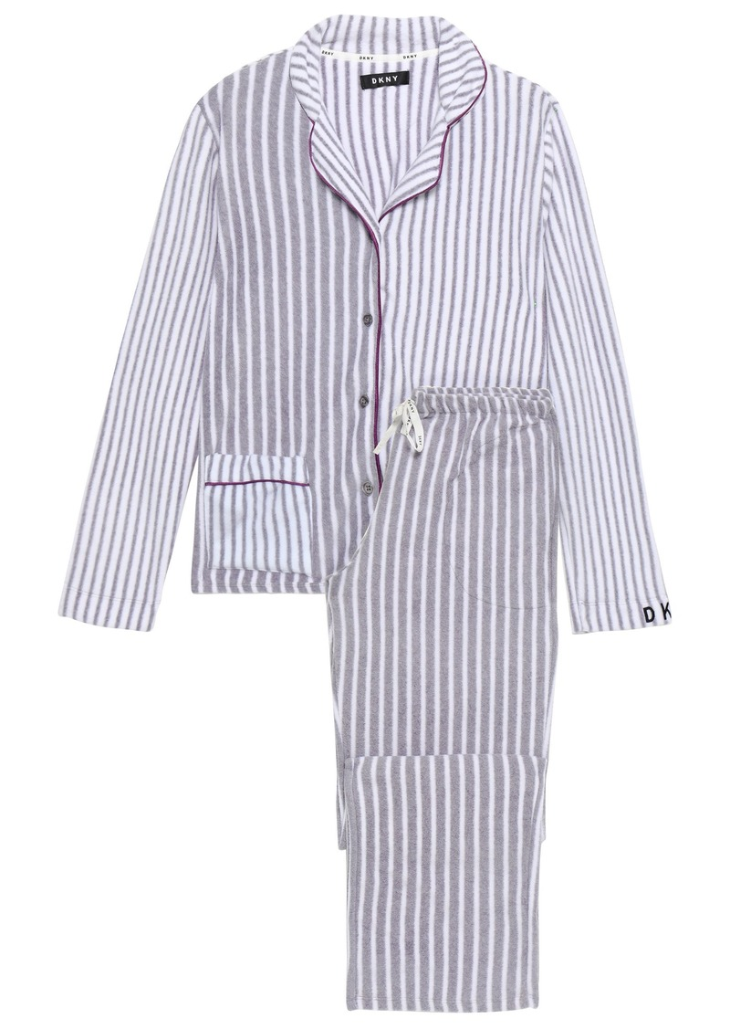 Dkny Woman Striped Fleece Pajama Set Gray