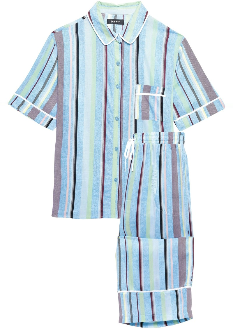 Dkny Woman Striped Mousseline Pajama Set Light Blue