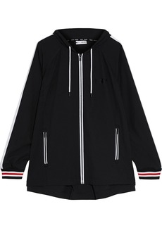 Dkny Woman Striped Stretch-shell Hooded Jacket Black