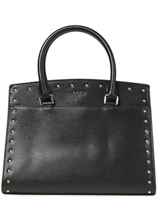 Dkny Woman Studded Textured-leather Tote Black