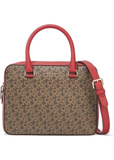 Dkny Woman Sutton Logo-print Faux Textured-leather Shoulder Bag Red