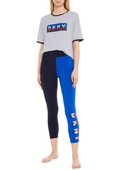 Dkny Woman The Warm Up Cropped Printed Two-tone Stretch Leggings Navy