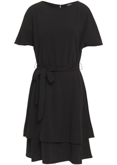 Dkny Woman Tiered Belted Stretch-crepe Dress Black