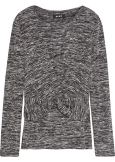 Dkny Woman Twist-front Marled Knitted Sweater Black