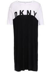 Dkny Woman Two-tone Stretch-jersey Nightshirt Black