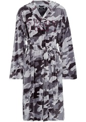 Dkny Woman Urban Mindset Embroidered Printed Velour Hooded Robe Anthracite