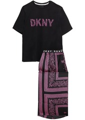 Dkny Woman Vintage Fresh Cropped Printed Cotton-blend Jersey And Crepe De Chine Pajama Set White