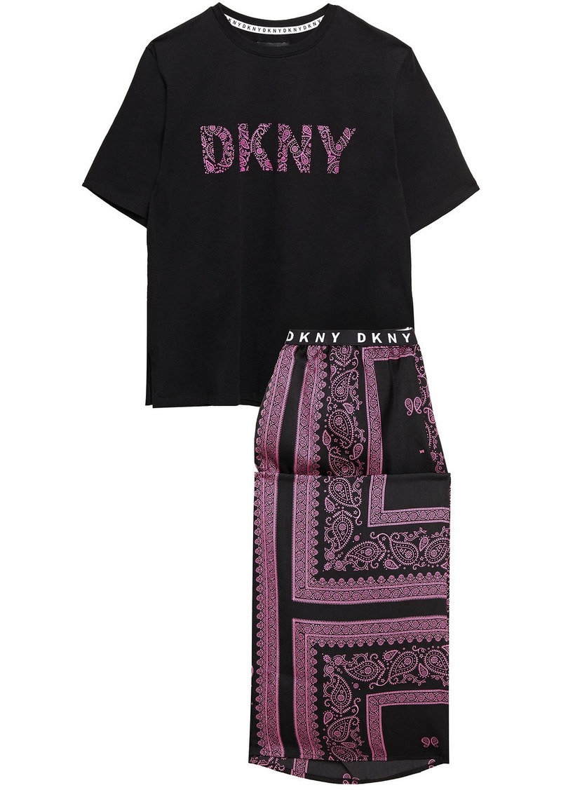 Dkny Woman Vintage Fresh Cropped Printed Cotton-blend Jersey And Crepe De Chine Pajama Set Black