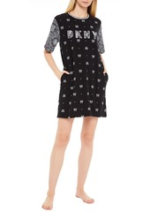 Dkny Woman Vintage Fresh Embroidered Printed Cotton-blend Jersey Nightshirt Black