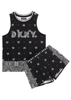 Dkny Woman Vintage Fresh Embroidered Printed Cotton-blend Jersey Pajama Set Black