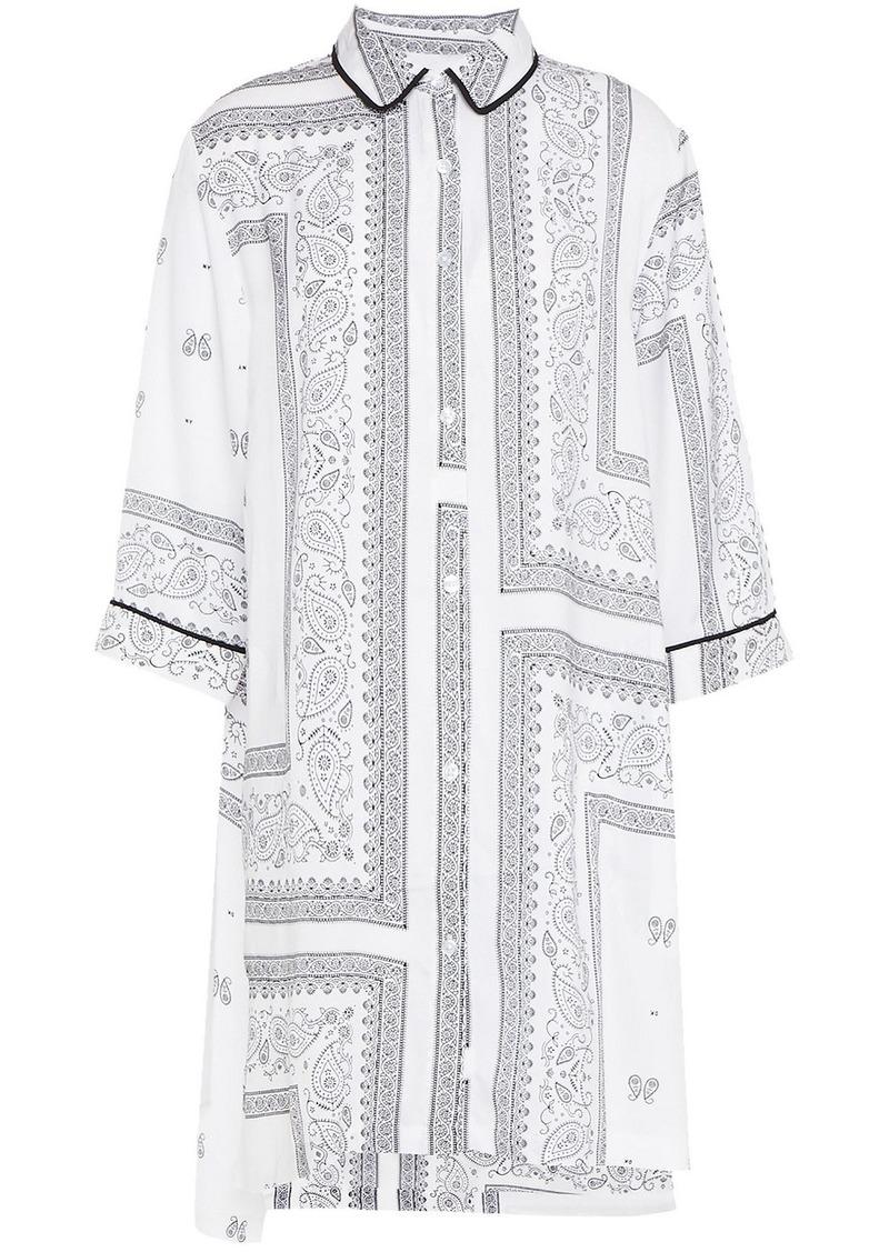Dkny Woman Vintage Fresh Printed Crepe De Chine Nightshirt White