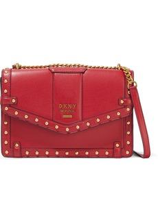 Dkny Woman Whitney Large Studded Pebbled-leather Shoulder Bag Crimson