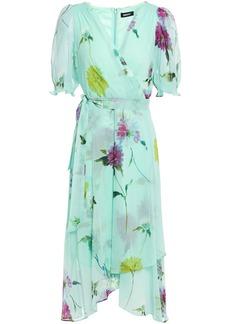 Dkny Woman Wrap-effect Floral-print Crepon Midi Dress Mint