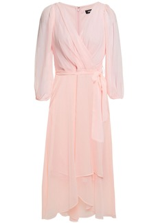 Dkny Woman Wrap-effect Pleated Crepon Dress Baby Pink