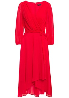 Dkny Woman Wrap-effect Pleated Crepon Midi Dress Crimson