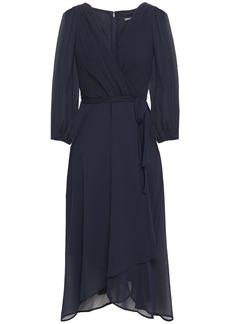 Dkny Woman Wrap-effect Pleated Crepon Midi Dress Navy
