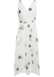 Dkny Woman Wrap-effect Polka-dot Crepon Midi Dress White