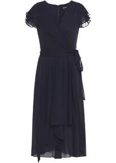Dkny Woman Wrap-effect Ruffled Crepon Dress Navy