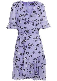 Dkny Woman Wrap-effect Ruffled Floral-print Crepon Dress Lavender