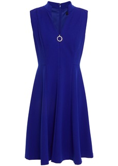 Dkny Woman Zip-detailed Stretch-crepe Mini Dress Bright Blue