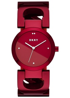 Dkny Women's City Link Red Stainless Steel Bangle Bracelet Watch 36mm, Created for Macy's