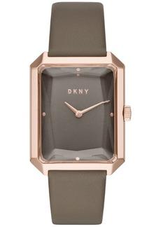 Dkny Women's Cityspire Gray Leather Strap Watch 27x34mm, Created for Macy's