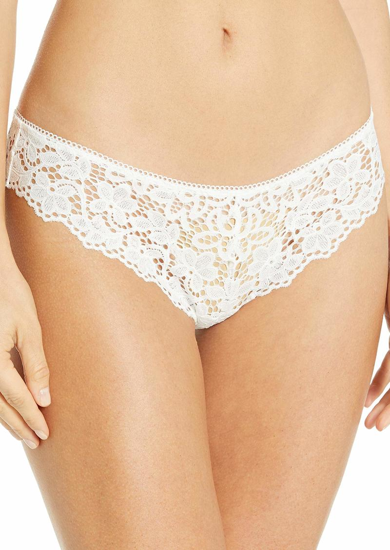 DKNY Women's Classic Cotton Lace Thong poplin White