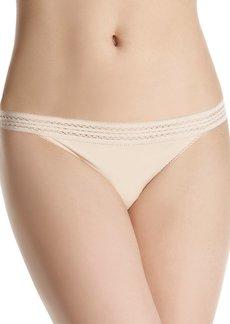 DKNY Women's Classic Cotton Lace Trim Thong Panty