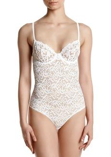 DKNY Women's Classic Lace Body Suit poplin White