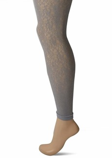 DKNY Women's Footless Lace Tights  S-M