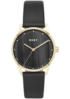 Dkny Women's Greenpoint Black Leather Strap Watch 36mm, Created for Macy's