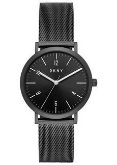 Dkny Women's Minetta Black Stainless Steel Mesh Bracelet Watch 36mm, Created For Macy's