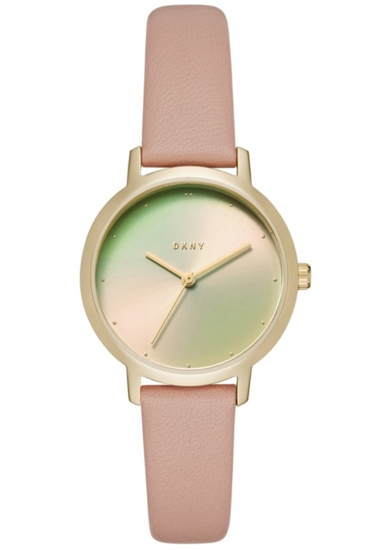 Dkny Women's Modernist Pink Leather Strap Watch 32mm, Created for Macy's