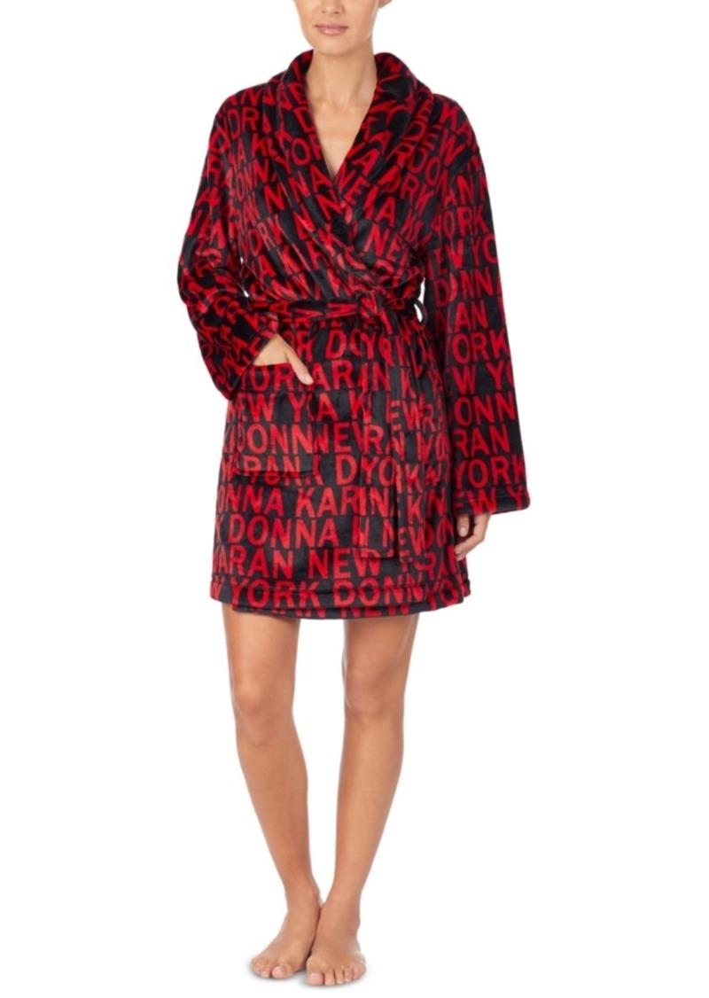 Dkny Women's Printed Plush Robe