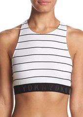 DKNY Women's Seamless Litewear High Neck Solid Crop Bra poplin Stripe/Black Dark
