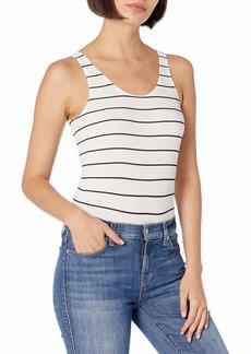 DKNY Women's Seamless Litewear Scoop Neck Rib Bodysuit w/Snap Closure poplin Stripe Dark