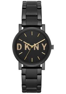 Dkny Women's SoHo Black Stainless-Steel Bracelet Watch 34mm, Created for Macy's