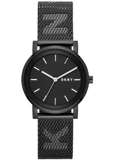 Dkny Women's SoHo Black Stainless Steel Mesh Bracelet Watch 34mm, Created for Macy's