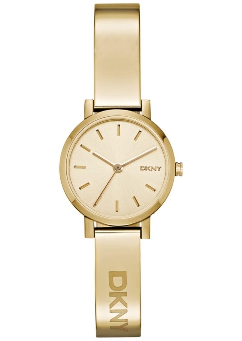 Dkny Women's Soho Gold-Tone Stainless Steel Half-Bangle Bracelet Watch 24mm NY2307