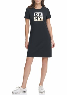 DKNY Women's Underline Box Logo T-Shirt Dress  XL