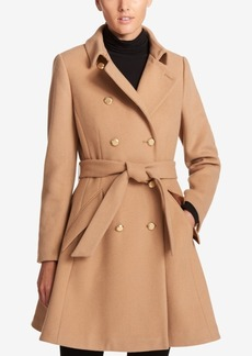 Dkny Double-Breasted Fit & Flare Peacoat