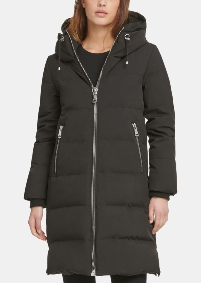 Dkny Zip Front Hooded Down Puffer Coat