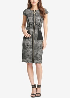 Dkny Zip-Front Tweed Sheath Dress, Created for Macy's