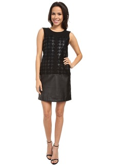 DKNYC Faux Leather and Ponte Pieced Dress