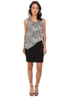 DKNYC Lightweight Ponte Dress w/ Painted Animal Print Overlay