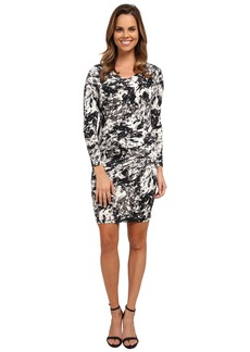 DKNYC Marble Sleek Jersey Ruched Dress